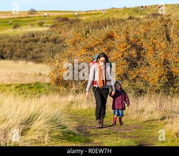 Aberlady nature Reserve, East Lothian, Écosse, Royaume-Uni, 4 novembre 2018. Météo au Royaume-Uni : chaude journée d'automne ensoleillée sur la côte est. Une femme marche avec ses enfants, tenant la main de la petite fille et portant bébé dans le sac à dos Banque D'Images