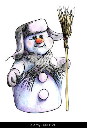 Bonhomme de Sibérie pourpre en hiver chaud chapeau et écharpe en tricot debout sur un fond blanc isolé avec un balai à la main. sur aquarelle Banque D'Images