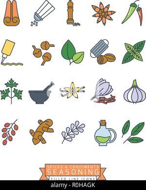 Épices, condiments et assaisonnements vector icon set ligne rempli Banque D'Images