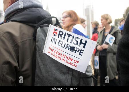 Londres, Royaume-Uni. 5Th Nov, 2018. Les manifestants forment une chaîne humaine en dehors de l'homme exigeant de Downing Street pour les ressortissants de l'UE et s'ils seront autorisés à rester dans le Royaume-Uni après Brexit Crédit: amer ghazzal/Alamy Live News Crédit: amer ghazzal/Alamy Live News Banque D'Images