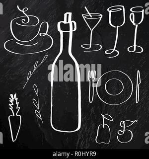 Un ensemble de vecteur de la nourriture et des boissons, les icônes d'art de la ligne à la main, sur un fond noir texture, éléments de conception pour un menu et une carte des vins