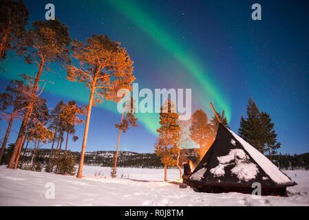 Northern Lights, Aurora Borealis en Laponie, Finlande Banque D'Images