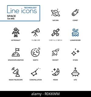 Concept de l'espace - ligne style design icons set Banque D'Images