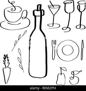 Un ensemble de vecteur de la nourriture et des boissons, les icônes d'art de la ligne à la main, abstract design d'éléments d'un menu de restaurant et une carte des vins