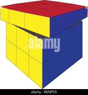 Vecteur de jouet cube Rubik 4X4 square isolé sur fond blanc Banque D'Images