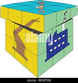 Vecteur de Rubik cube carré 4X4 concept industriel isolé sur fond blanc Banque D'Images