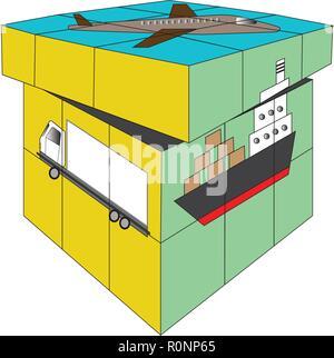 Vecteur de Rubik cube carré 4X4 transport logistique concept isolé sur fond blanc Banque D'Images
