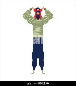 Père et fille ensemble pour la famille concept illustration. Seul père jouant avec petite fille isolée sur fond blanc. Banque D'Images