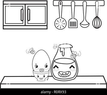 Cuisine Et Nourriture Kawaii Dessins Animés En Noir Et Blanc