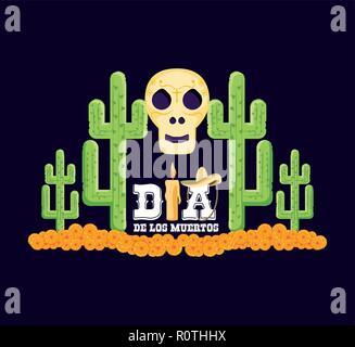 Crâne et cactus le Jour des Morts Les vecteur carte illustration design Banque D'Images