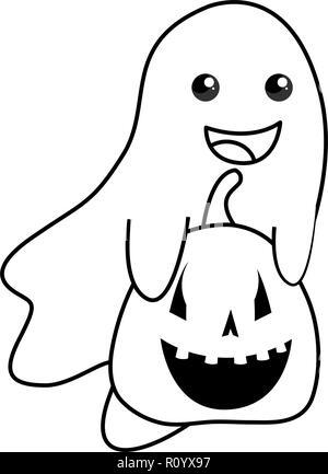 Happy Halloween citrouille fantôme et vector illustration Banque D'Images