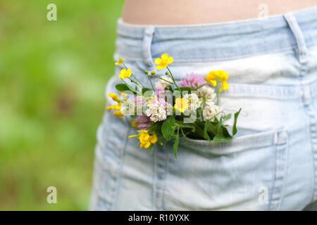 Fleur dans une grande poche de jeans pantalons d'été, concept Banque D'Images
