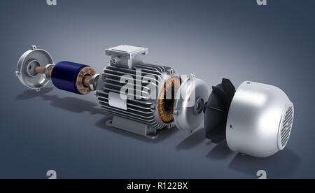Moteur électrique en état démonté 3d illustration sur une pente Banque D'Images