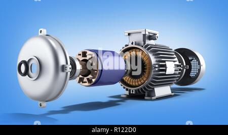 Moteur électrique en état démonté 3d illustration sur un gradient background Banque D'Images