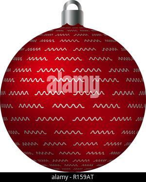 Orné rouge Boule de Noël avec des motifs triangle argent