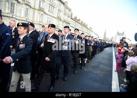 Weymouth, Dorset, UK. 11Th Nov, 2018. Souvenir du dimanche et parade à Weymouth, Dorset, UK Crédit: Finnbarr Webster/Alamy Live News Banque D'Images