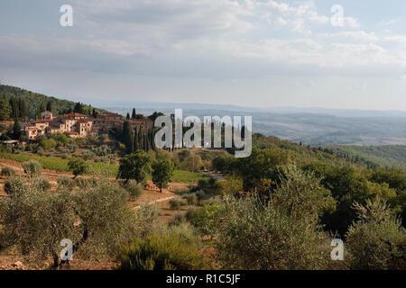 Fonterutoli, Castellina in Chianti, Toscane, Italie, du SR 222, Via Statale Banque D'Images