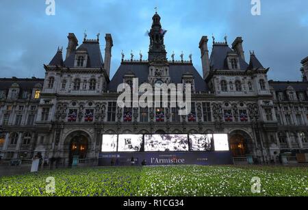 À l'occasion du centenaire de l'Armistice de la Première Guerre mondiale, l'hôtel de ville de Paris définit 94 415 bleu, blanc et rouge fleurs en face de l'hôtel de ville.