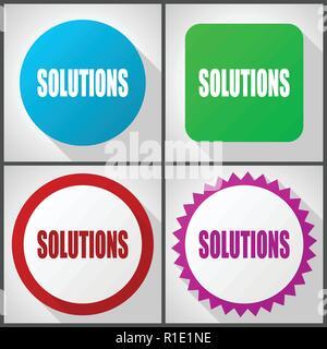 Vector icons avec 4 options. Design plat Solutions icon set facile à éditer en eps 10. Banque D'Images