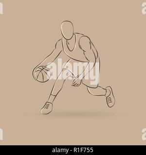 Résumé contours silhouette avec ballon de basket-ball Banque D'Images