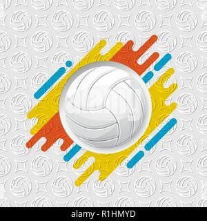 Contour blanc symbole de volley-ball avec ombres isolé sur fond boule Banque D'Images