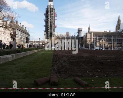 Londres, Royaume-Uni. 13 novembre 2018. La pelouse au centre de la place du Parlement d'être remplacé après plusieurs années. La vieille herbe était usé et a beaucoup souffert au cours de cette année, sec en été. Après avoir tourné plus de mise à niveau et le sol, le nouveau turf est mis. Les travaux seront terminés d'ici jeudi. Crédit: Joe Keurig /Alamy Live News Banque D'Images