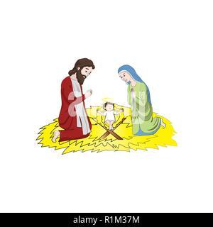 Marie et Joseph près de l'Enfant Jésus Christ. Noël. Vector illustration couleur