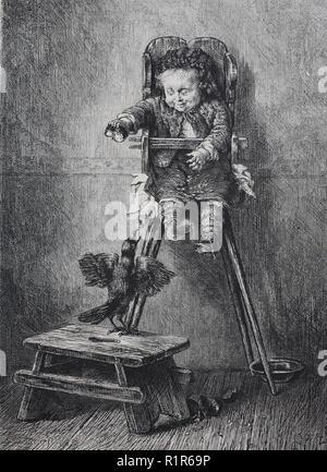 L'amélioration de la reproduction numérique, naughty boy taquine un oiseau, tirage original de l'année 1880 Banque D'Images