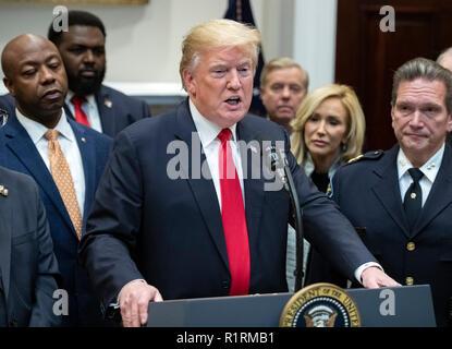 """Washington DC, USA. 14Th Nov 2018. Le Président des Etats-Unis, Donald J. Trump annonce son appui de H. R. 5682, la Loi sur la 'première étape' dans la Roosevelt Room de la Maison Blanche à Washington, DC le mercredi, Novembre 14, 2018. Selon le site congress.gov, ce projet de loi est intitulé """"la société anciennement incarcérées entrer de nouveau transformé la transition en toute sécurité chaque personne ou de la Loi sur la première étape loi.' Il bénéficie d'un soutien bipartisan. Credit: Newscom/Alamy Live News Banque D'Images"""