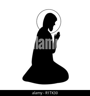 Hand drawn vector illustration d'encre ou d'un dessin de Saint Joseph d'ossature. Banque D'Images
