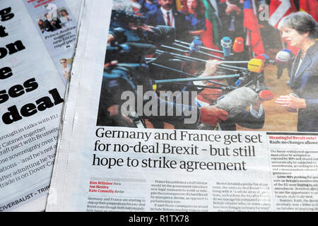"""Gros titre de journal """"L'Allemagne et la France Get set for no-deal Brexit - mais encore de l'espoir de grève 18 octobre 2018 accord' London England UK Banque D'Images"""