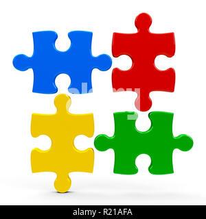 Résumé des pièces de puzzle isolé sur fond blanc - représente le travail d'équipe concept, le rendu en trois dimensions, 3D illustration Banque D'Images