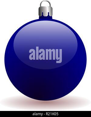 Blue Christmas ball. Isolé sur un fond blanc avec une ombre. Balle en trois dimensions. Banque D'Images