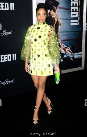 New York, USA. 14Th Nov, 2018. Tessa Thompson à la première du film 'Creed II' dans l'AMC Loews Lincoln Square. New York, 14.11.2018 | Conditions de crédit dans le monde entier: dpa/Alamy Live News Banque D'Images