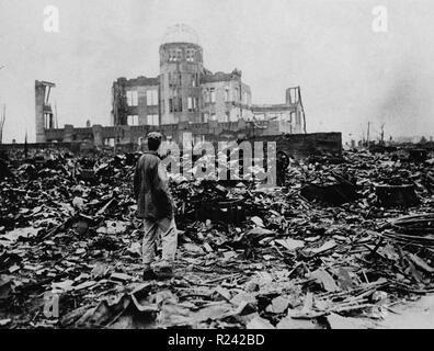La Seconde Guerre mondiale, après l'explosion de la bombe atomique en août 1945 Hiroshima, Japon Banque D'Images