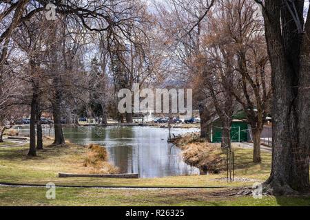 Étang entouré par de grands arbres en Indochine Park, près du centre-ville de Reno, Nevada Banque D'Images