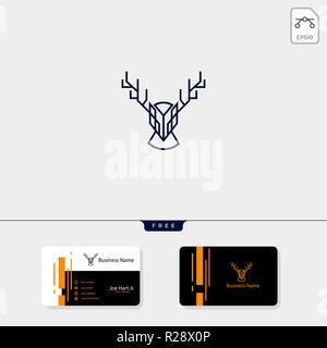 Deer head logo créatif avec la ligne modèle de style art illustration vectorielle, modèle de conception de carte de visite gratuit Banque D'Images