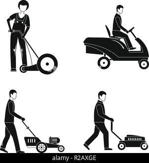 Tondeuse homme service icons set. Illustration simple de 4 tondeuse homme service vector icons for web Banque D'Images
