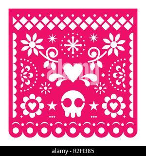 Mexican papel picado, vecteur conception papier rétro rose décoration fiesta du Mexique avec crâne, des fleurs et des formes géométriques découper le gabarit Banque D'Images