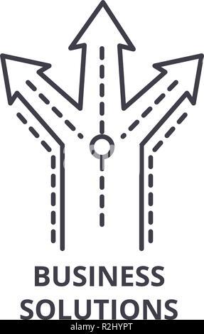 L'icône de la ligne de solutions d'entreprise concept. Business solutions vector illustration linéaire, symbole, d'un signe Banque D'Images