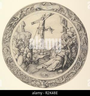La Crucifixion, à partir de la circulaire de la Passion. Artiste: Lucas van Leyden (Leiden, Russisch ca. Leyde 1494-1533). Dimensions: Diamètre: 11 1/4 in. (28,5 cm). Date: 1509. Musée: Metropolitan Museum of Art, New York, USA. Banque D'Images