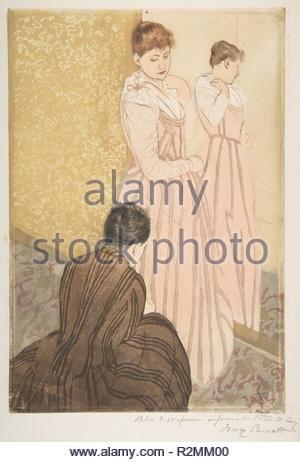 Le raccord. Artiste: Mary Cassatt (Américain, Pittsburgh, Pennsylvanie 1844-1926 Mesnil-Théribus, Oise). Dimensions: Plateau: 14 13/16 x 10 1/8 in. (37,6 x 25,7 cm): feuille 16 x 11 3/4 à 13/16. (42,7 x 29,8 cm). Date: 1890-1891. Musée: Metropolitan Museum of Art, New York, USA. Banque D'Images