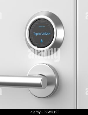 Rendu 3D smart verrouillée serrure sur une porte blanche. Banque D'Images
