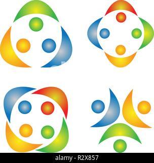 Le travail d'équipe, le logo, l'éducation, les gens, la fête, symbole, icône de groupe partenaire Banque D'Images