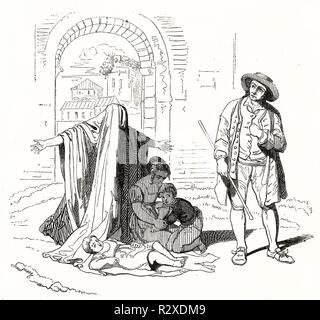Vieille illustration mendiant et fils. Après Pinelli, publ. sur Magasin Pittoresque, Paris, 1846 Banque D'Images