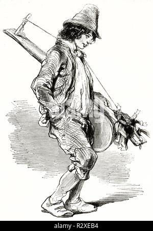 Vieille illustration représentant un marionnettiste itinérant, par Gavarni, publ. sur Magasin Pittoresque, Paris, 1846 Banque D'Images