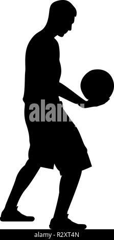 Basket-ball player holding ball Man holding basket-ball icône silhouette vecteur de couleur noire style télévision je simple image Banque D'Images