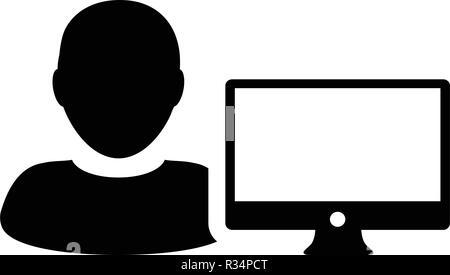 Vecteur icône concepteur personne mâle utilisateur avec le moniteur de l'ordinateur écran avatar en télévision couleur dans Glyph Pictogramme illustration Banque D'Images
