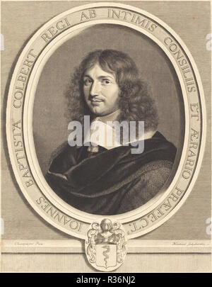 Jean-Baptiste Colbert. En date du : 1662. Technique : gravure. Musée : National Gallery of Art, Washington DC. Auteur : Robert Nanteuil après Philippe de Champaigne. Robert Nanteuil. Banque D'Images