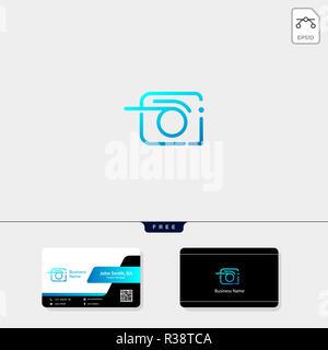 Photographie, photographe, photo modèle logo vector illustration, modèle de conception de carte de visite gratuit Banque D'Images